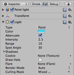 Настройки объекта Laser Trap Point Light