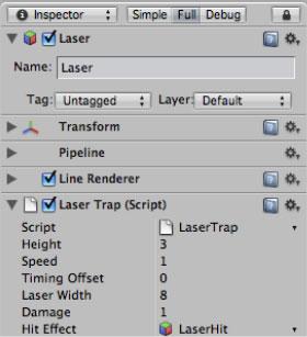 Настройки скрипта LaserTrap