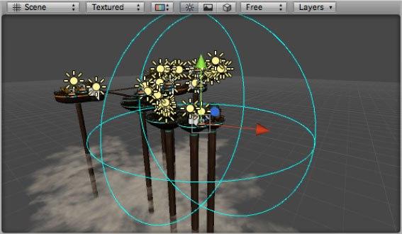 Функция OnDrawGizmosSelected(), отображающая сферу, которая определена переменной Spawn Range