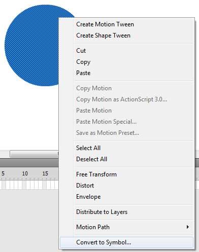 преобразовываем объект в символ в AdobeFlash