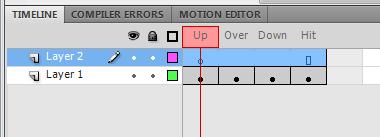 создаем еще один слой в панели анимации, чтобы добавить текст на кнопку