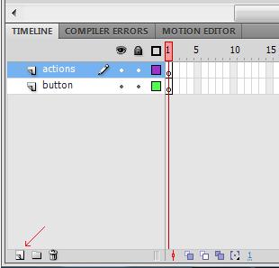 на панели анимации создаем два слоя actions и button