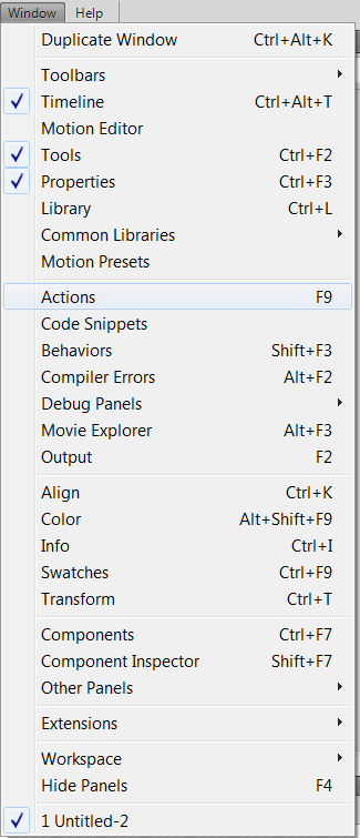 добавление кода ActionScript 3 в окно кода Actions