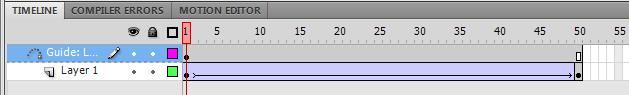 два слоя с промежуточными кадрами на панели анимации