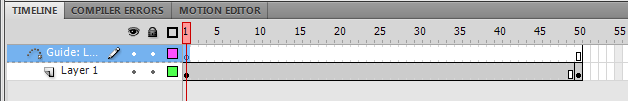 два слоя на анимационной панели timeline