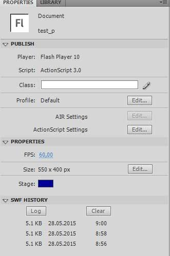 создадим новый документ в Adobe Flash