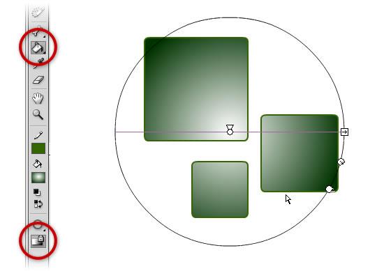 заблокированная градиентная заливка, примененная к нескольким объектам в AdobeFlash