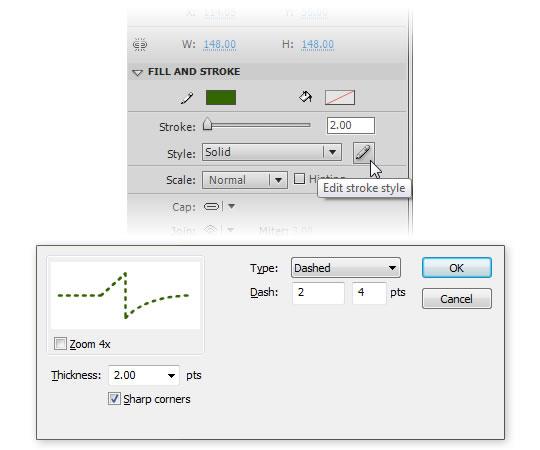 редактирование пунктирной линии формы в AdobeFlash