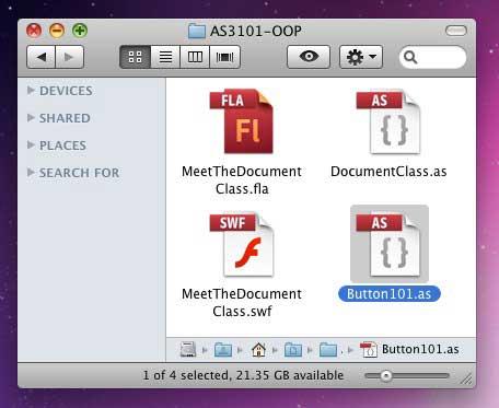 создаем класс кнопки Button и файл класса ActionScript