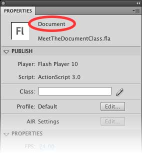Панель свойств (Properties) отображает Document