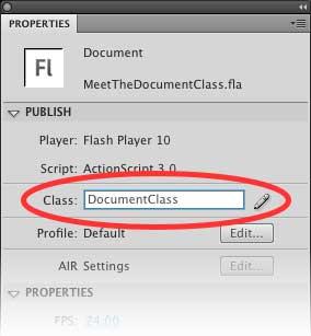 в текстовом поле Class панели Properties введите DocumentClass