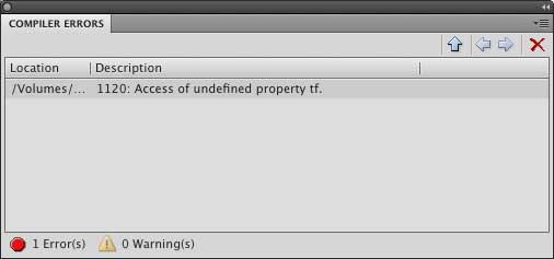 вывод сообщения об ошибке на панели output