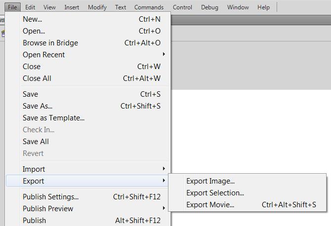 Сохранение файла Adobe Flash