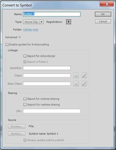 Преобразование объекта в символ Adobe Flash
