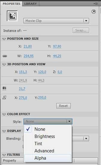 Настройки стиля alpha в color effect на панели свойств properties в Adobe Flash