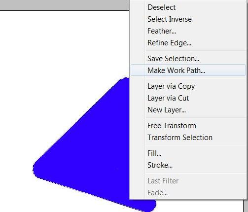 В контекстном меню при помощи инструмента Select в Photoshop выберите Make Work Path...