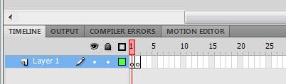 Панель Timeline с кадрами в Adobe Flash