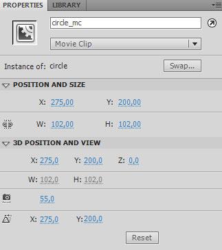 Задаем имя мувиклипу в свойствах properties в поле instance name в Adobe Flash