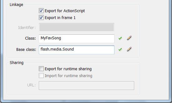 Связывание и экспортирование файла в ActionScript