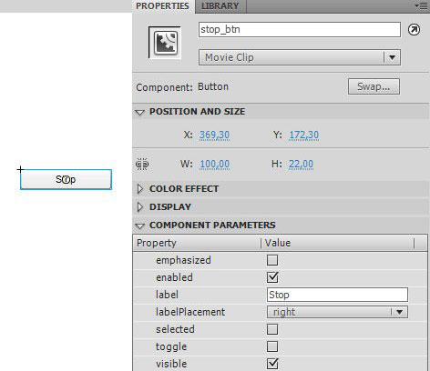Настройка компонента Button в AdobeFlash