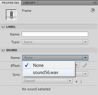 Установка звукового файла кадру кнопки из библиотеки в Adobe Flash