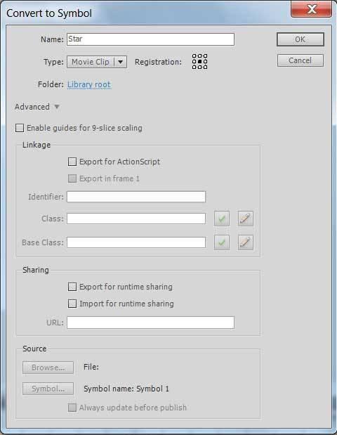 Конвертирование объекта в символ Adobe Flash