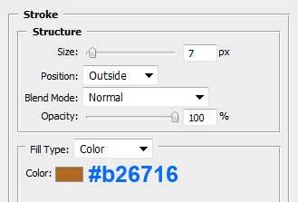 Настройка параметра Stroke для основного слоя в Photoshop