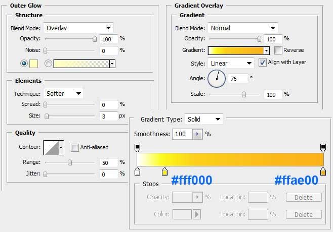 Установка параметров слоя Outer Glow и Gradient Overlay для внутреннего векторного объекта в Photoshop
