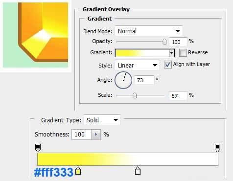 Настройка параметра слоя Gradient Overlay для векторного объекта в Photoshop