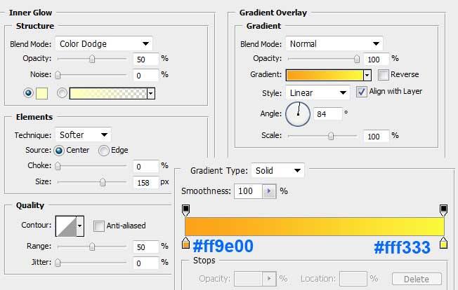 Установка параметров Inner Glow и Gradient Overlay для основного слоя в Photoshop
