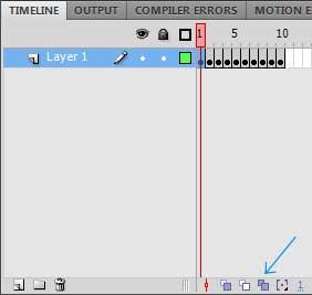 Кнопка-переключатель Edit Multiple Frames для выделения всех кадров на панели Timeline в AdobeFlash