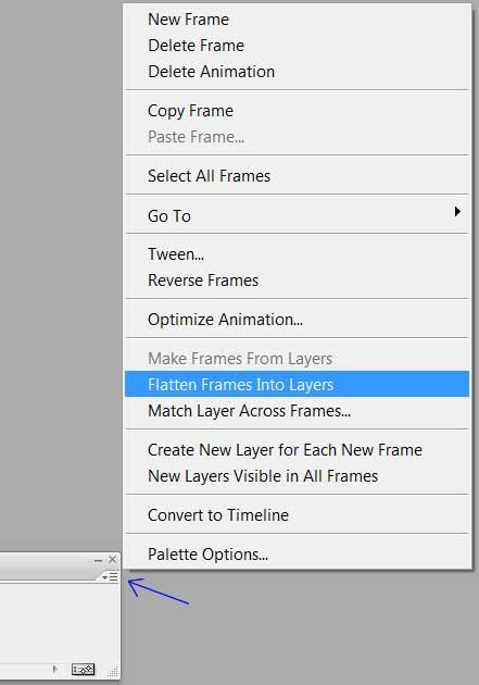 Создание слоев анимации используя Flatten Frames Into Layers в Photoshop