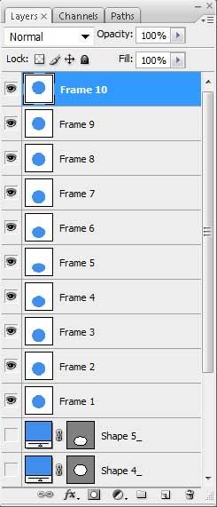 Слои анимации в окне Layers в Photoshop