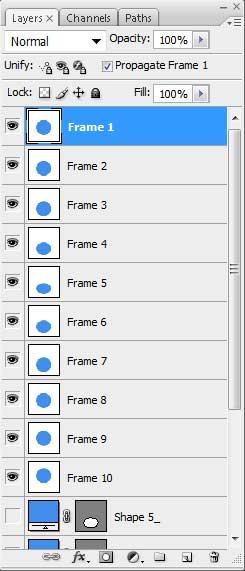 Изменение порядка слоев анимации в окне Layers в Photoshop