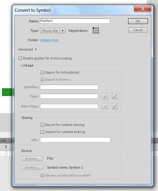 Конвертируем прямоугольник платформу в символ AdobeFlash