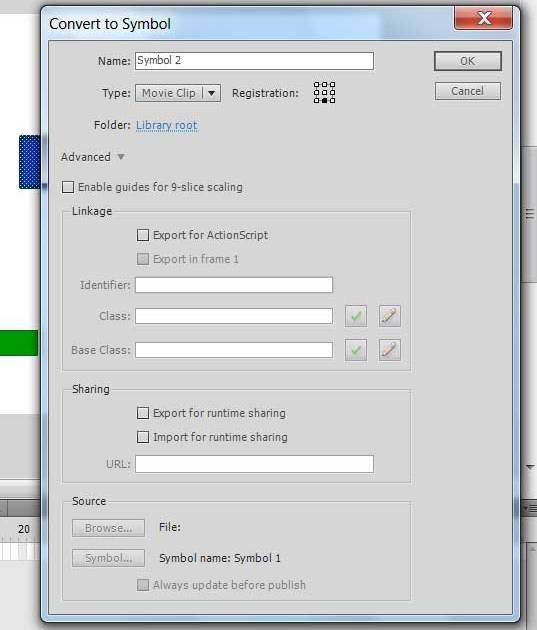 Конвертируем прямоугольник персонаж в символ AdobeFlash