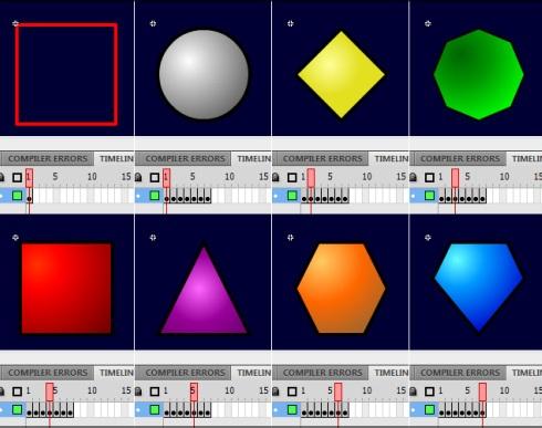 Символы selector_mc (выделение) и gem_mc (драгоценные камни) типа MovieClip