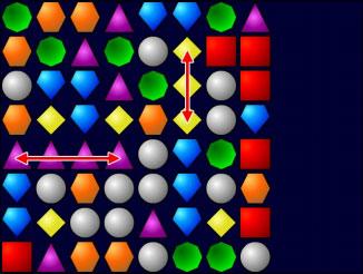 Несколько комбинаций драгоценных камней в начале игры Bejeweled