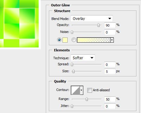 Настройки для свечения центральных граней алмаза в Photoshop