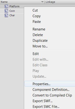 Свойства объекта символа в AdobeFlash