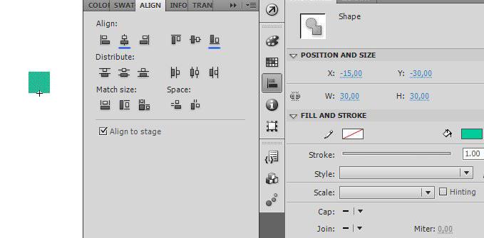 Создание объекта символа и его выравнивание в AdobeFlash