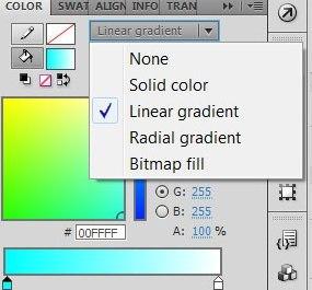 Заполнение градиентной заливкой в AdobeFlash