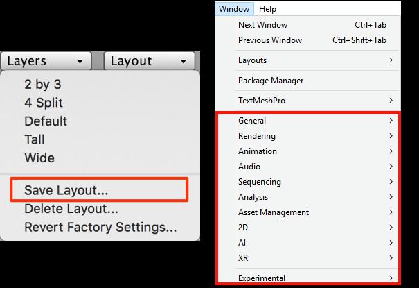 Сохранение макетов интерфейса и меню Window в Unity