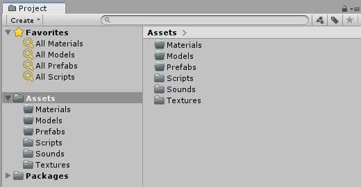 Необходимые папки для работы в окне Project в Unity