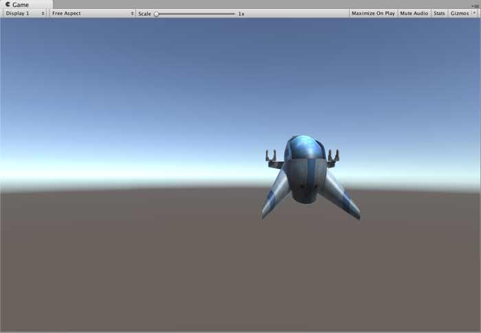 Расположение космического корабля в окне Game в Unity