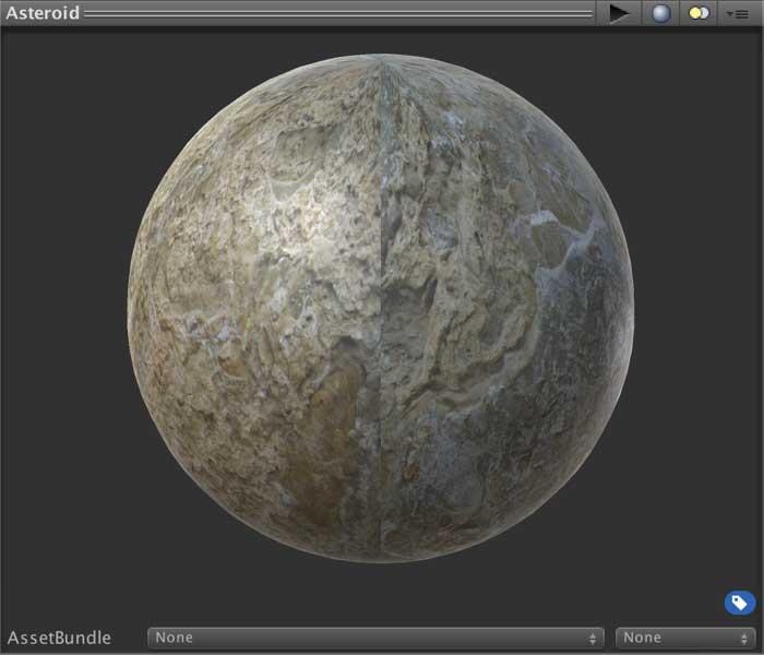 Превью материала игрового объекта Asteroid в окне Inspector в Unity