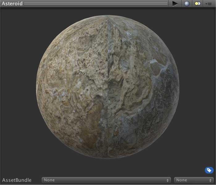 Отображение материала игрового объекта Asteroid после установки параметра Smoothness в окне Inspector в Unity