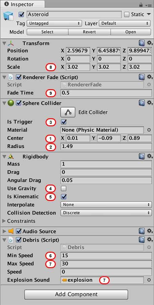 Настройка свойств игрового объекта Debris в окне Inspector в Unity