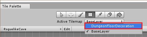 Переключение на слой DungeonFloorDecoration в окне Tile Palette в Unity