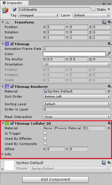 Компонент TileMap Collider в Unity